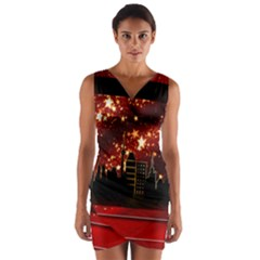 City Silhouette Christmas Star Wrap Front Bodycon Dress