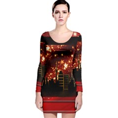 City Silhouette Christmas Star Long Sleeve Velvet Bodycon Dress