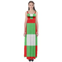 Fabric Christmas Colors Bright Empire Waist Maxi Dress