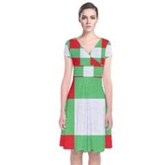 Fabric Christmas Colors Bright Short Sleeve Front Wrap Dress