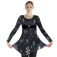 Snowflake Snow Snowing Winter Cold Long Sleeve Tunic