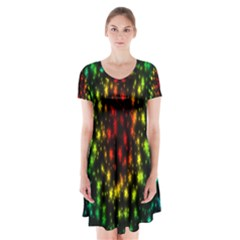 Star Christmas Curtain Abstract Short Sleeve V-neck Flare Dress