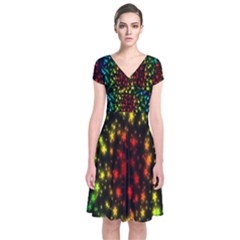 Star Christmas Curtain Abstract Short Sleeve Front Wrap Dress