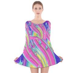 Star Christmas Pattern Texture  Long Sleeve Velvet Skater Dress