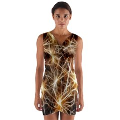 Star Golden Christmas Connection Wrap Front Bodycon Dress