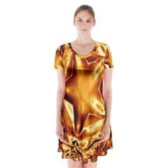 Elegant Gold Copper Shiny Elegant Christmas Star Short Sleeve V-neck Flare Dress