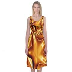 Elegant Gold Copper Shiny Elegant Christmas Star Midi Sleeveless Dress