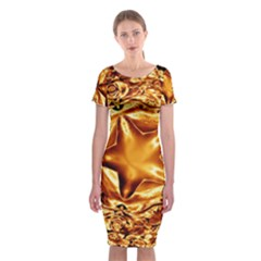 Elegant Gold Copper Shiny Elegant Christmas Star Classic Short Sleeve Midi Dress