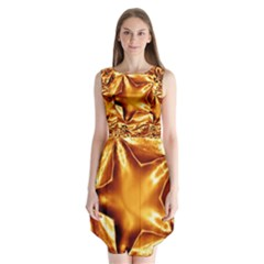 Elegant Gold Copper Shiny Elegant Christmas Star Sleeveless Chiffon Dress