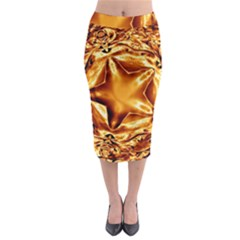 Elegant Gold Copper Shiny Elegant Christmas Star Midi Pencil Skirt