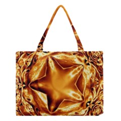 Elegant Gold Copper Shiny Elegant Christmas Star Medium Tote Bag