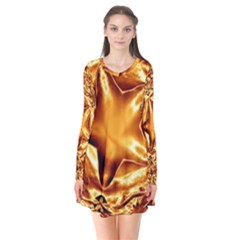 Elegant Gold Copper Shiny Elegant Christmas Star Flare Dress
