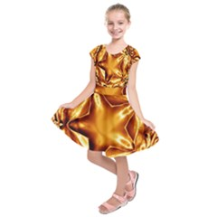Elegant Gold Copper Shiny Elegant Christmas Star Kids  Short Sleeve Dress