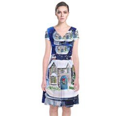 Winter Snow Ball Snow Cold Fun     Short Sleeve Front Wrap Dress
