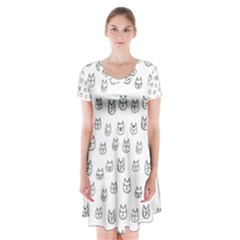 Sketchy Cats Short Sleeve V-neck Flare Dress
