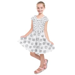 Sketchy Cats Kids  Short Sleeve Dress