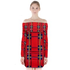 Red Checkered Abstract Design  Long Sleeve Off Shoulder Dress