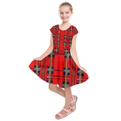 Red Checkered Abstract Design  Kids  Short Sleeve Dress