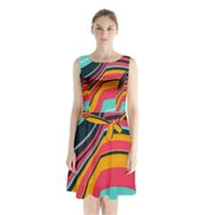 Bent Waves                Sleeveless Waist Tie Dress