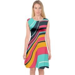 Bent Waves                                      Capsleeve Midi Dress