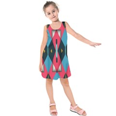 Triangles stripes and other shapes            Kid s Sleeveless Dress
