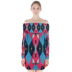 Triangles Stripes And Other Shapes            Long Sleeve Off Shoulder Dress