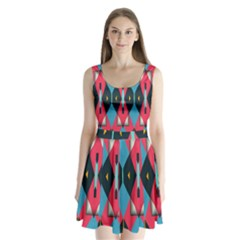 Triangles Stripes And Other Shapes                      Split Back Mini Dress
