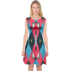 Triangles Stripes And Other Shapes                                       Capsleeve Midi Dress