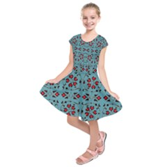 Beautiful Dark Turquoise With Red Ornaments Painting Design  Kids  Short Sleeve Dress
