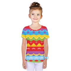 Colorful Waves                                 Kids  One Piece Tee