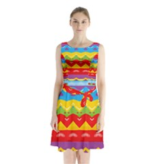 Colorful Waves                   Sleeveless Waist Tie Dress