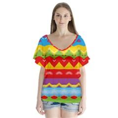 Colorful Waves              V Neck Flutter Sleeve Top