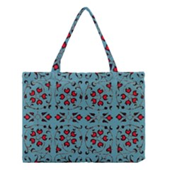 Beautiful Dark Turquoise With Red Ornaments Painting Design  Medium Tote Bag