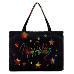 Happy Holidays Medium Zipper Tote Bag