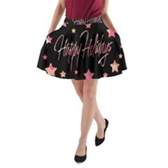 Happy Holidays 3 A-Line Pocket Skirt
