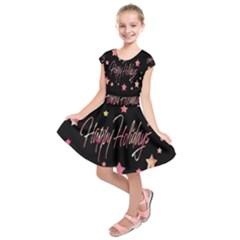 Happy Holidays 3 Kids  Short Sleeve Dress