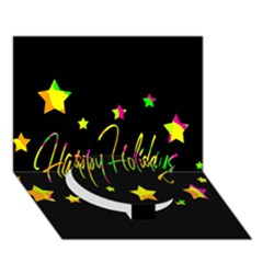 Happy Holidays 4 Circle Bottom 3d Greeting Card (7x5)