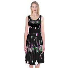 Happy Holidays 5 Midi Sleeveless Dress