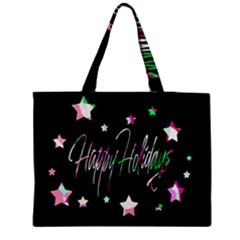Happy Holidays 5 Medium Zipper Tote Bag