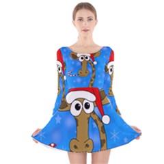 Xmas giraffe - blue Long Sleeve Velvet Skater Dress