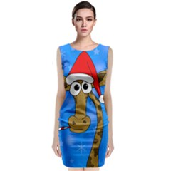 Xmas giraffe - blue Classic Sleeveless Midi Dress