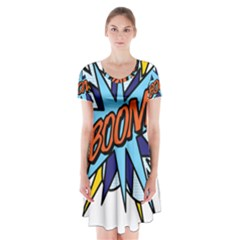 Comic Book Boom! Short Sleeve V-neck Flare Dress