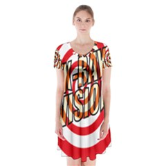 Comic Book X Ray Vision Red Spiral Short Sleeve V Neck Flare Dress
