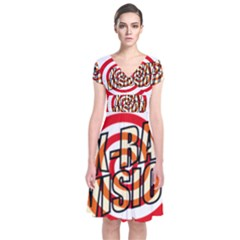 Comic Book X Ray Vision Red Spiral Short Sleeve Front Wrap Dress