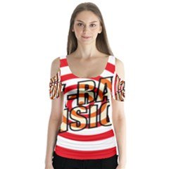 Comic Book X Ray Vision Red Spiral Butterfly Sleeve Cutout Tee