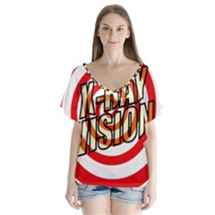 Comic Book X Ray Vision Red Spiral Flutter Sleeve Top
