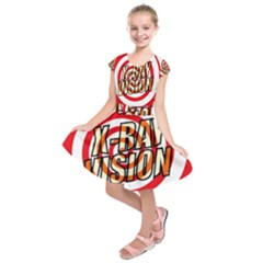 Comic Book X Ray Vision Red Spiral Kids  Short Sleeve Dress