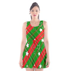 Background Abstract star Christmas Scoop Neck Skater Dress