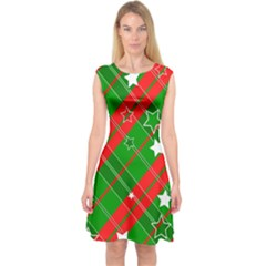 Background Abstract star Christmas Capsleeve Midi Dress