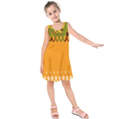 Colorful Orange Abstract Painting Design  Kids  Sleeveless Dress